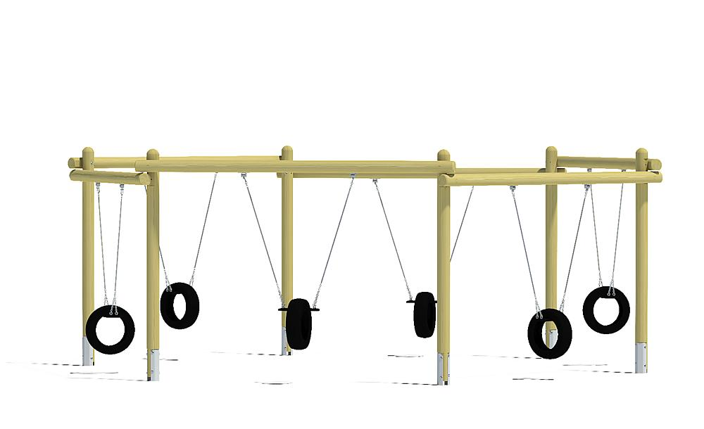 six-bay swing with tyre seats