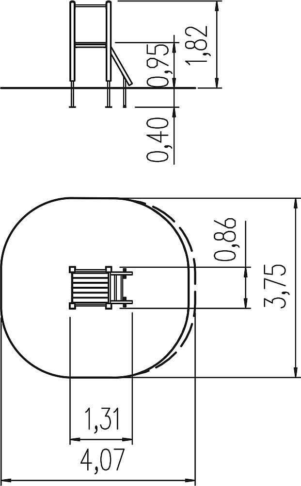 Slide platform for add-on and hill slide ph 95 cm