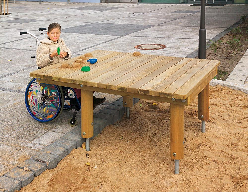 Sand play table, wheelchair accessible