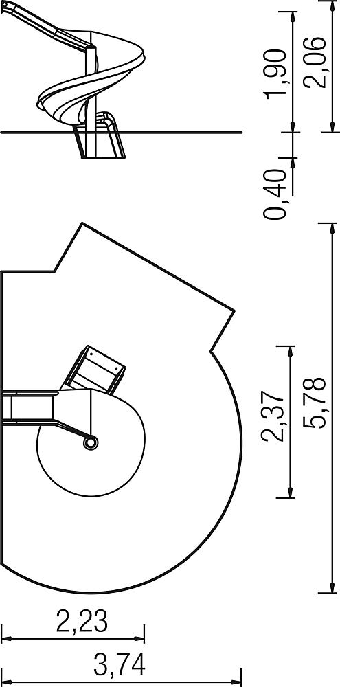 Add-on slide 270 degree, spiralled to right, ph 195 cm