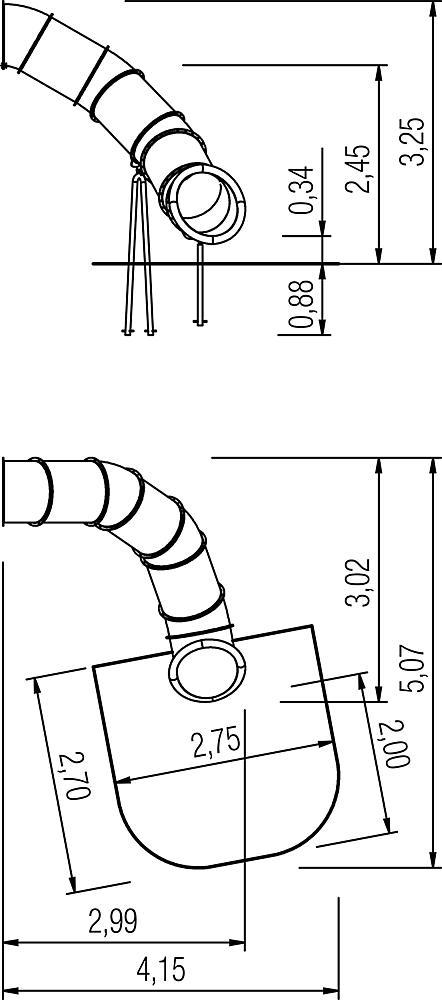 Tubular add-on slide 80 degree, spiralled to right, ph 245 cm