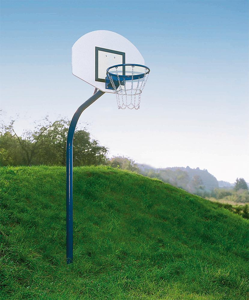 Basketball system steel tube with ground sleeve
