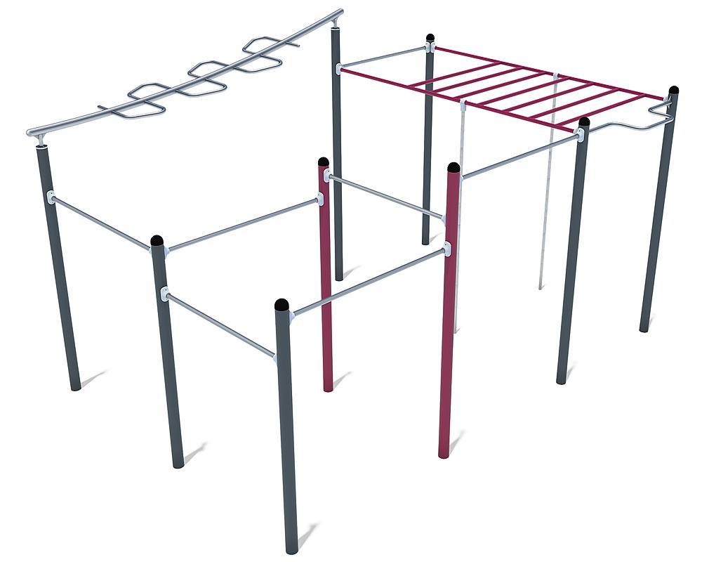 Équipement de Calisthenics Maxi 01 acier, acier inoxydable anthracite, violet