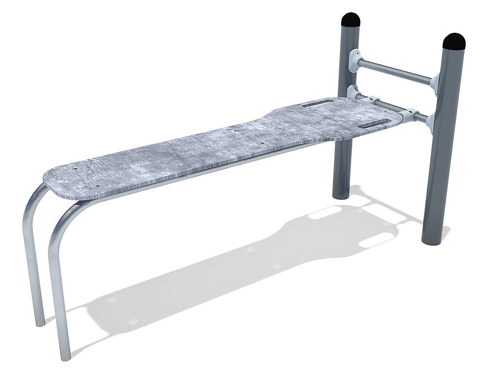 Calisthenics Sit-up banc acier, acier inoxy. HPL anthrazit-béton