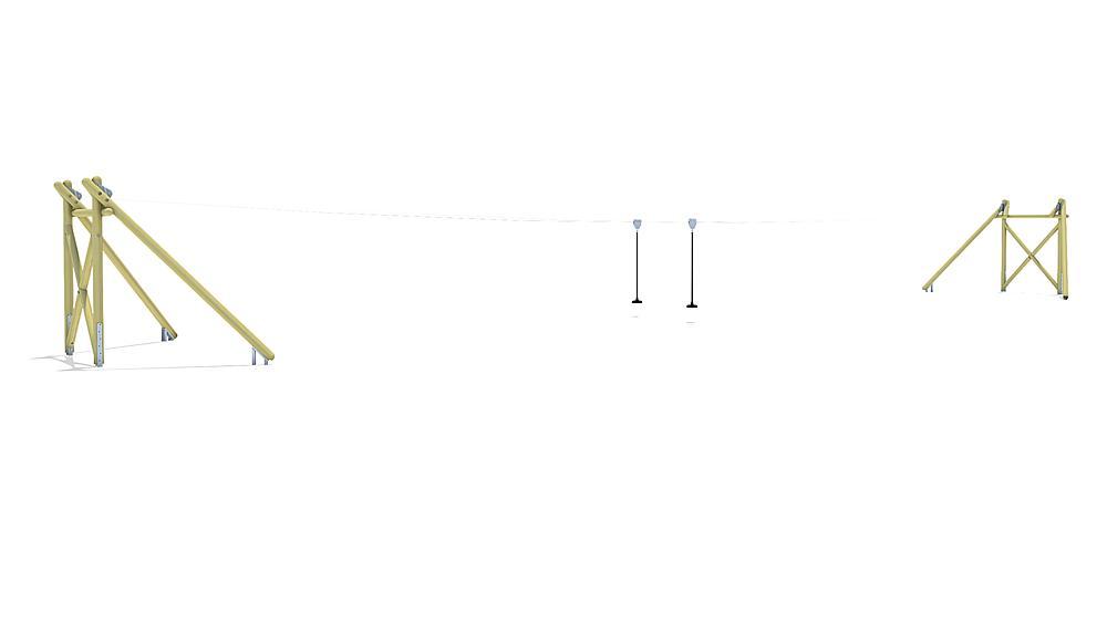 Tyrolienne Montana Duo 30 m pour construction de butte