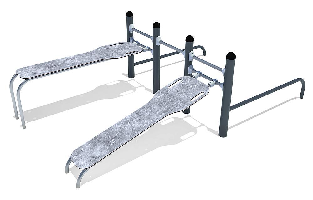 Calisthenics Combi 02 sits-ups et push-ups acier, acier inoxydable, HPL anthracite-béton