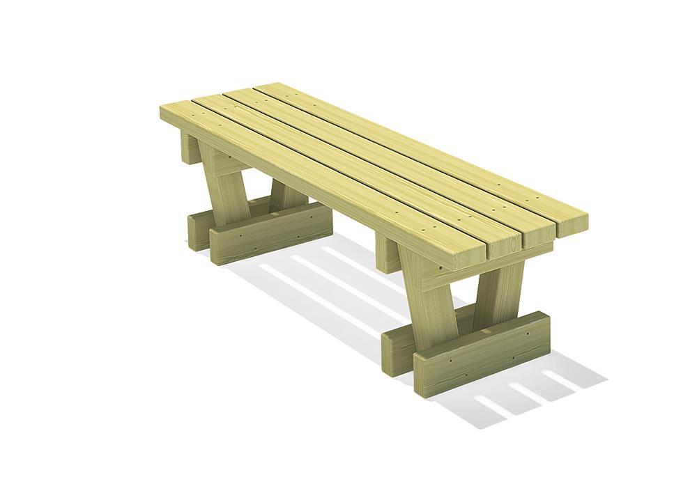 Square timber bench Spessart 150