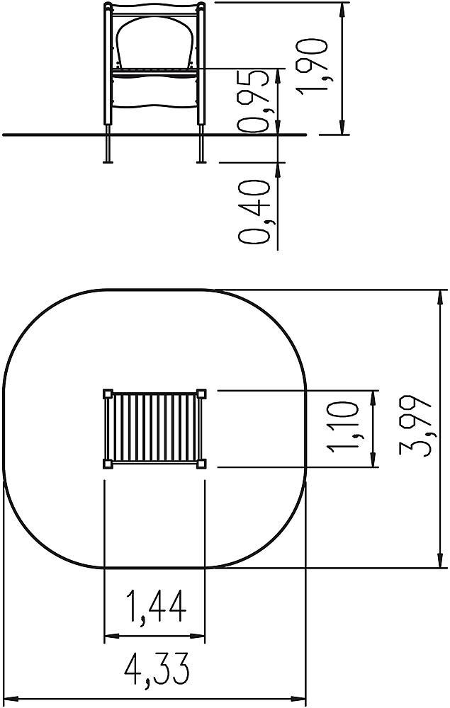 Slide platform for add-on slide wide ph 95 cm