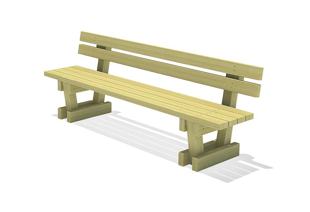 Square timber bench Spessart with backrest 200