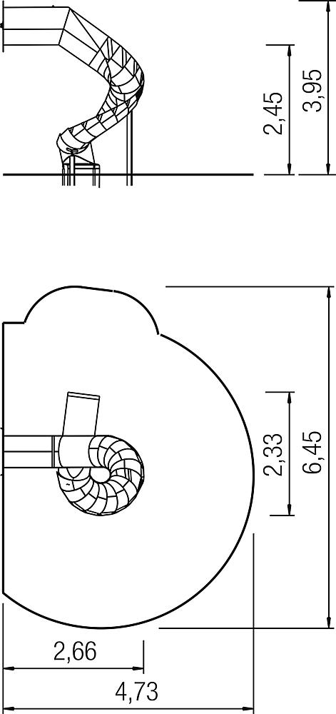 Channel slide 270 degree, spiralled to right, stainless steel, ph 245 cm