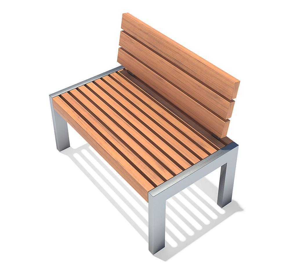 Bench with backrest Erica running metre