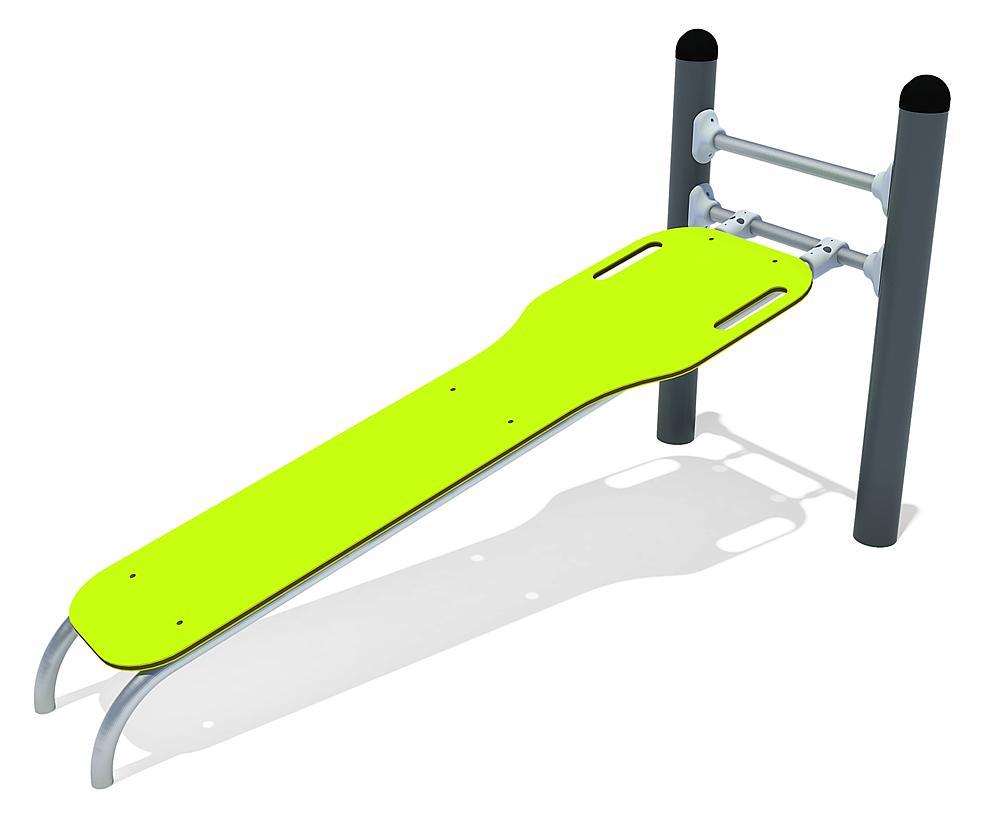 Calisthenics banc de Sit-up acier, acier inoxy., HPL anthracite, lime