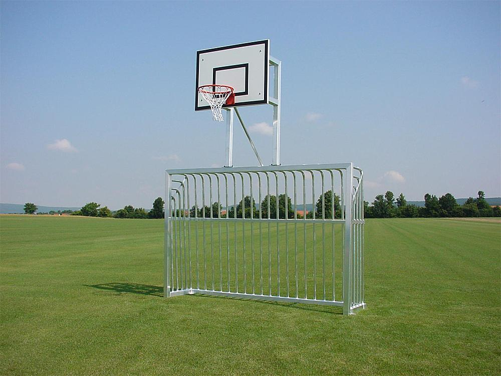 All-purpose goal with basketball equipment